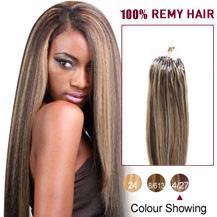 Remy human hair easy loop hair extensions micro link hair 16 inches brown blonde1427 micro loop human hair extensions pmusecretfo Images